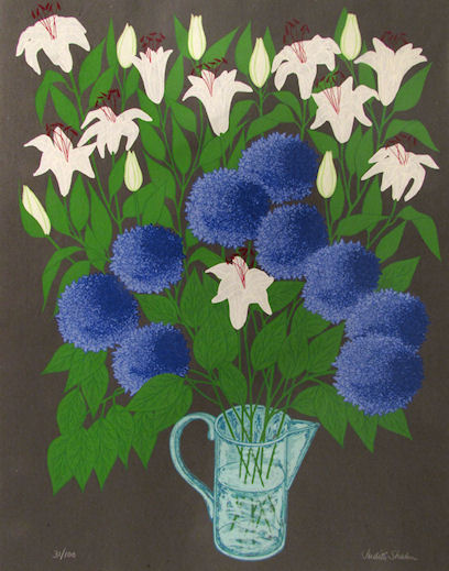 JUDITH SHAHN - Lilies and Hydrangeas