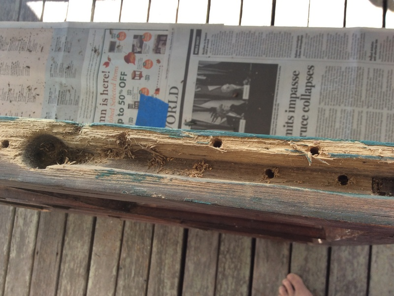 Side channel with decomposed wood before treatment -