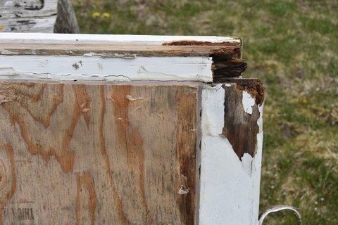Window Restoration Cape Cod - Before Corner repair