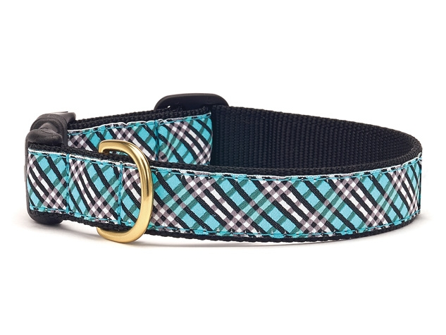 Collars - Aqua Plaid Dog Collar