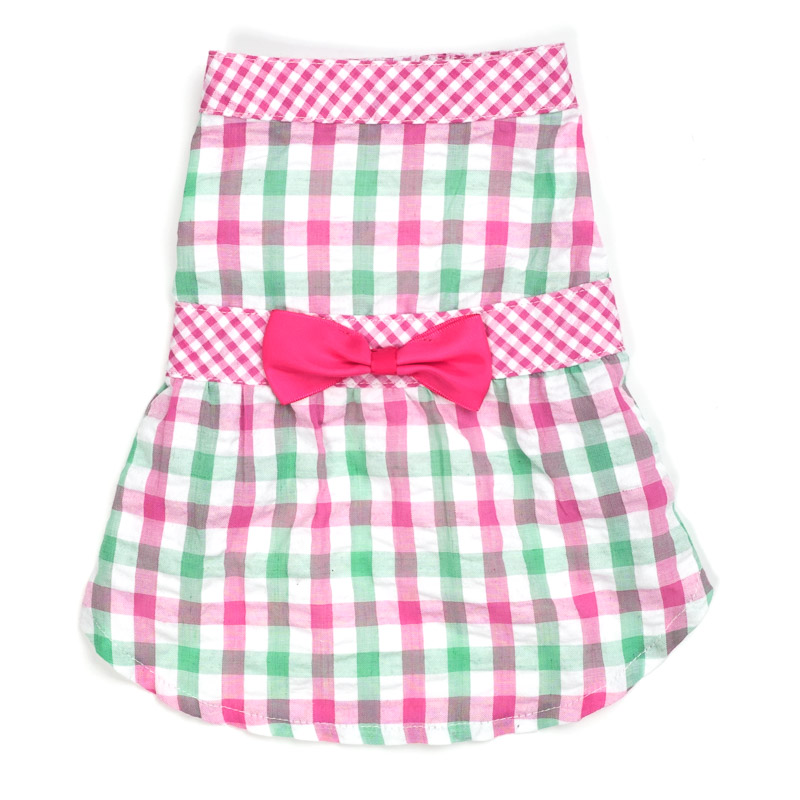 Dog Apparel - Pink Green Plaid Doggie Shirt with Bowtie