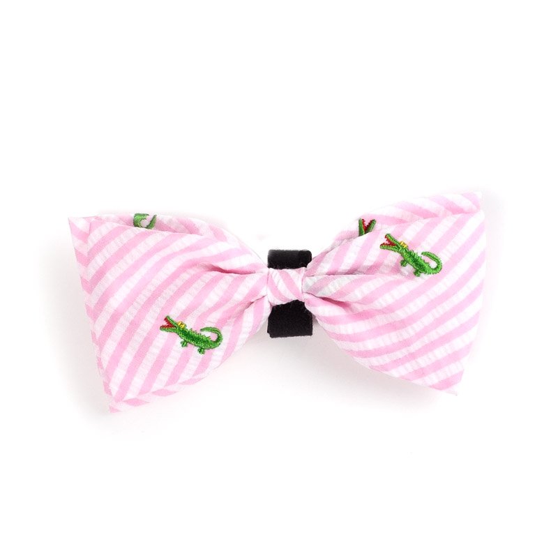 Dog Apparel - Pink Seersucker Doggie Bowtie