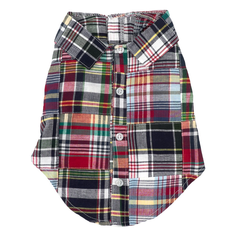 Dog Apparel - Plaid Patched Doggie Shirt