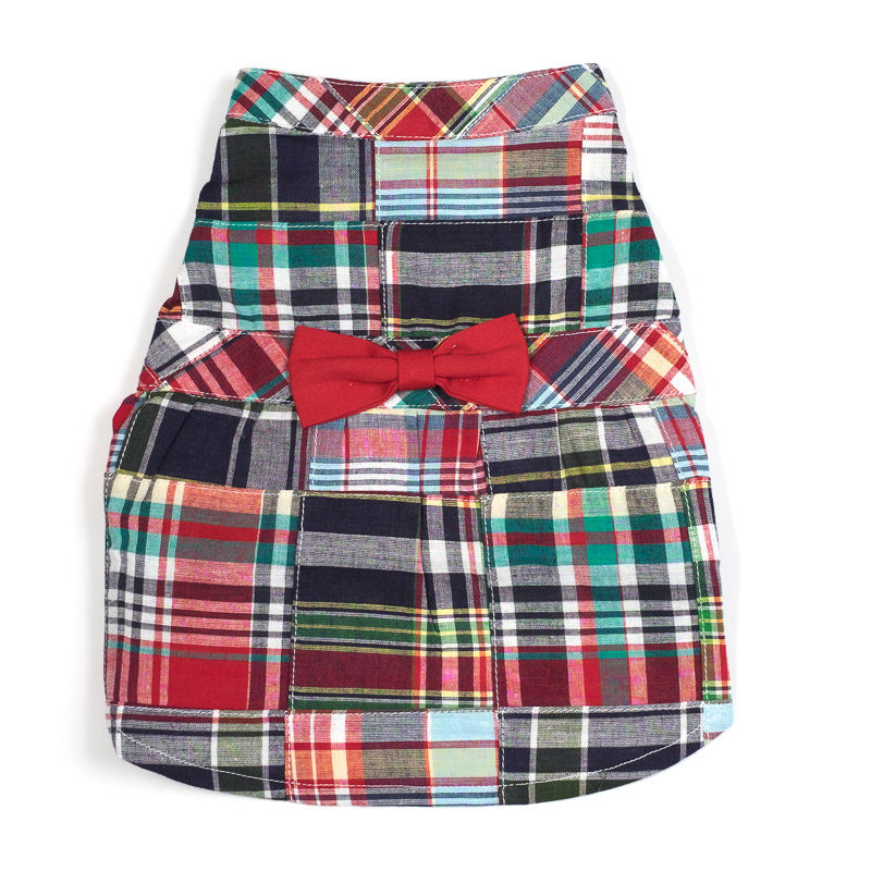 Dog Apparel - Plaid Doggie Shirt with Bowtie